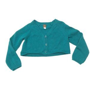 Tea Collection Teal Button Up Cropped Cardigan